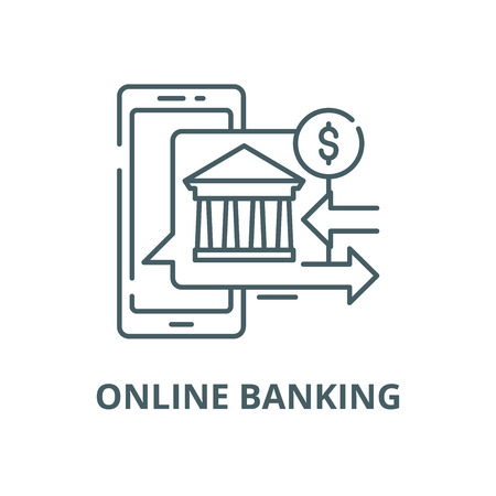 Online banking vector line icon, outline concept, linear sign