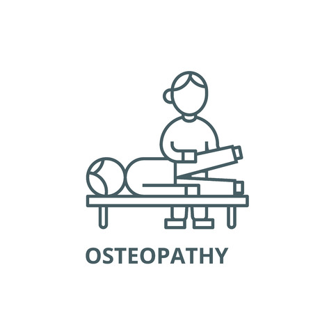 Osteopathy,manual therapy,massage vector line icon, outline concept, linear sign