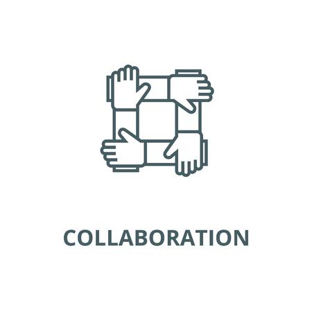 Partenariat,collaboration,icône de la ligne du vecteur d'aide, concept de contour, signe linéaire