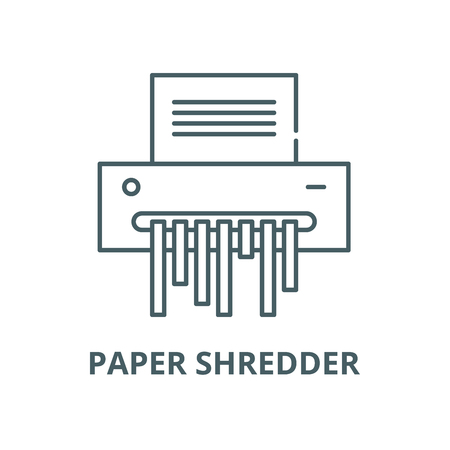 Paper shredder vector line icon, outline concept, linear sign