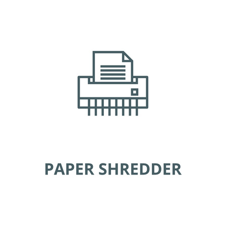 Paper shredder,office printer vector line icon, outline concept, linear sign