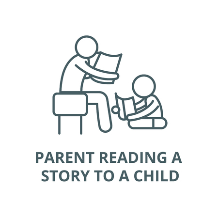 Parent reading a story to a child vector line icon, outline concept, linear sign