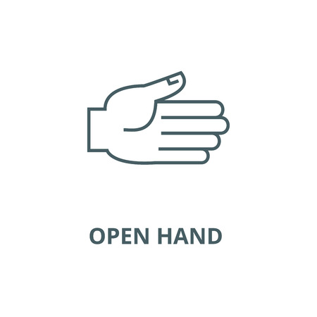 Open hand  vector line icon, outline concept, linear sign