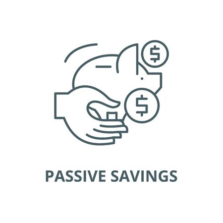 Passives Einsparungsvektorliniensymbol, Umrisskonzept, lineares Zeichen