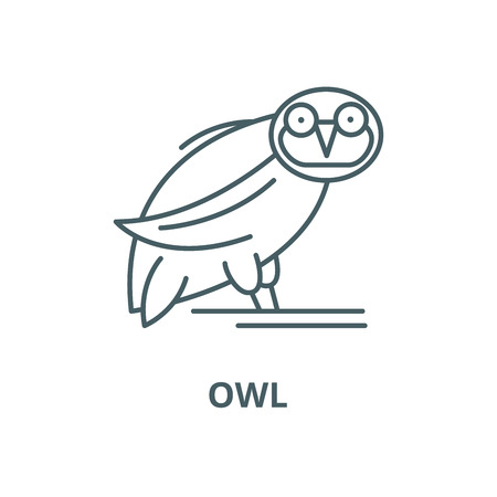 Owl vector line icon, outline concept, linear sign