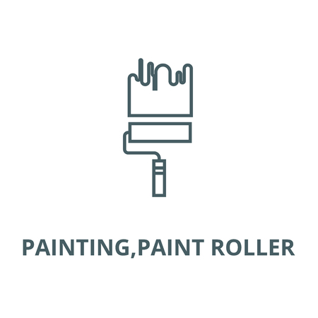 Painting,paint roller vector line icon, outline concept, linear sign
