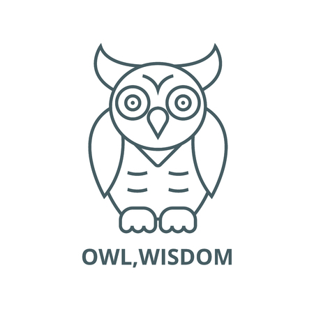 Owl,wisdom vector line icon, outline concept, linear sign