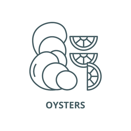 Oysters vector line icon, outline concept, linear sign  イラスト・ベクター素材