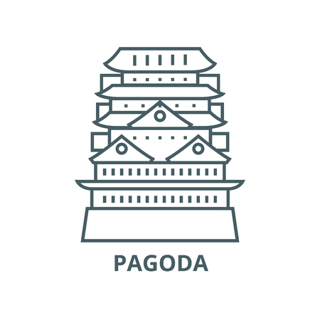 Pagoda,asian temple vector line icon, outline concept, linear sign