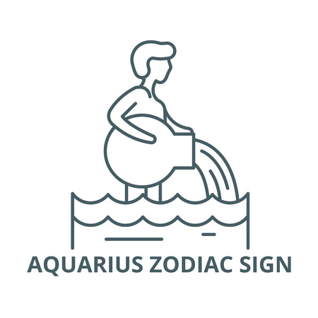 Aquarius zodiac sign vector line icon, outline concept, linear sign Illustration