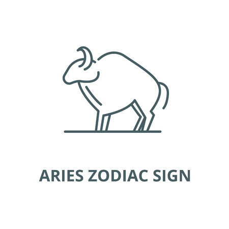 Aries zodiac sign vector line icon, outline concept, linear sign Illustration