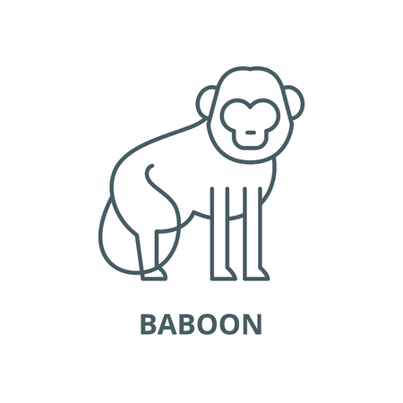 Baboon vector line icon, outline concept, linear sign