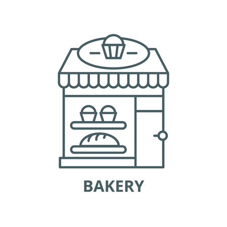 Bakery vector line icon, outline concept, linear sign 矢量图像