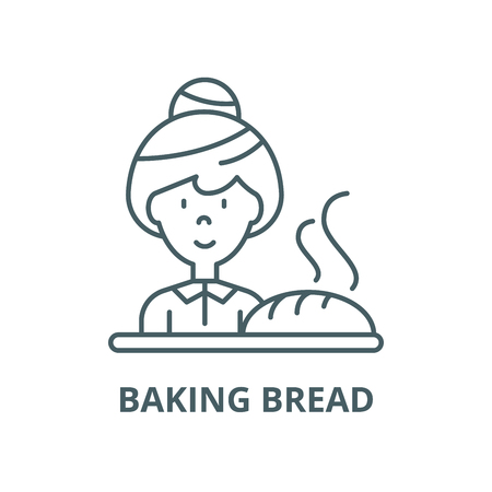 Baking bread vector line icon, outline concept, linear sign