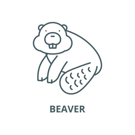 Beaver vector line icon, outline concept, linear sign