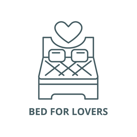 Bed for lovers vector line icon, outline concept, linear sign