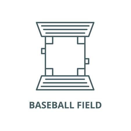 Baseball field vector line icon, outline concept, linear sign