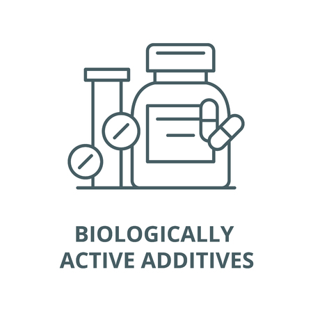 Biologically active additives vector line icon, outline concept, linear sign