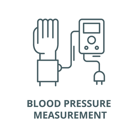 Blood pressure measurement vector line icon, outline concept, linear sign