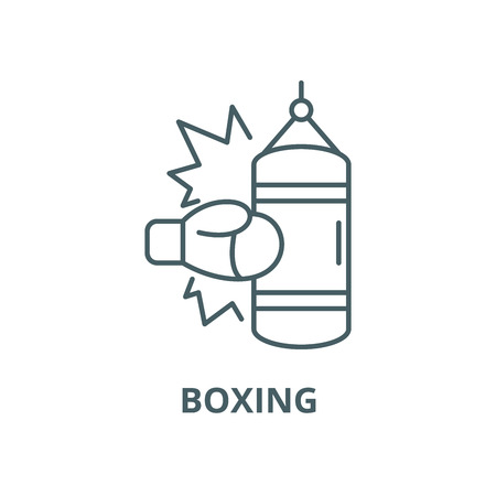 Boxing vector line icon, outline concept, linear sign