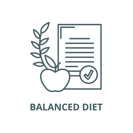 Balanced diet vector line icon, outline concept, linear sign