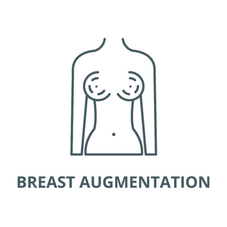 Breast augmentation vector line icon, outline concept, linear sign