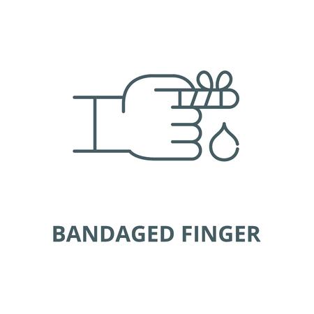 Bandaged finger vector line icon, outline concept, linear sign Ilustração