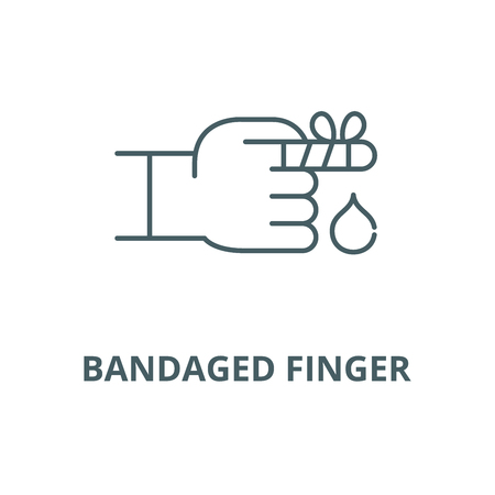 Bandaged finger vector line icon, outline concept, linear sign Illusztráció