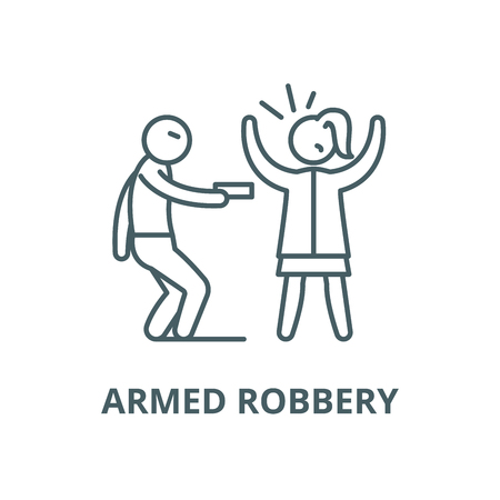 Armed robbery vector line icon, outline concept, linear sign