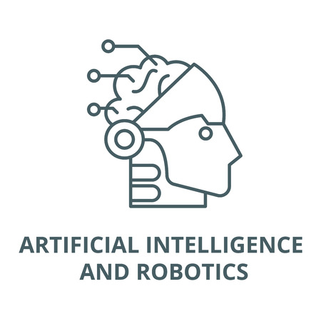 Artificial intelligence and robotics vector line icon, outline concept, linear sign Illustration