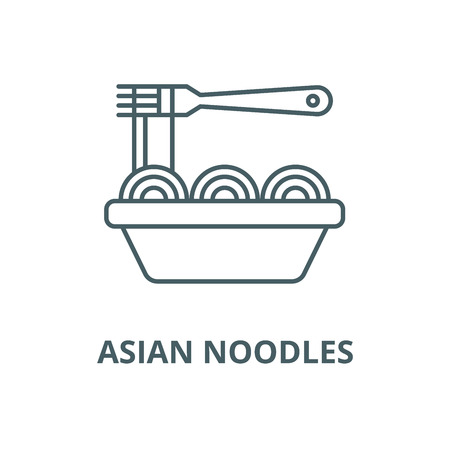 Asian noodles vector line icon, outline concept, linear sign Illustration