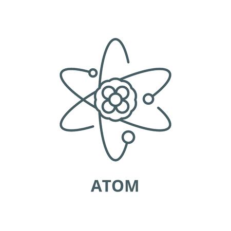 Atomvektorliniensymbol, Umrisskonzept, lineares Zeichen Vektorgrafik