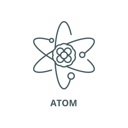 Atom vector line icon, outline concept, linear sign