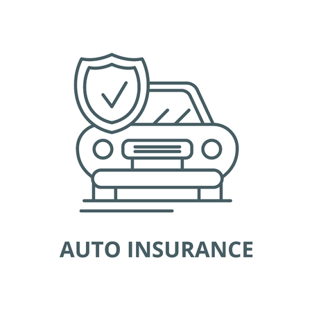 Auto insurance vector line icon, outline concept, linear sign Illustration