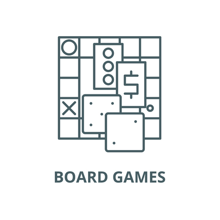Board games vector line icon, outline concept, linear sign
