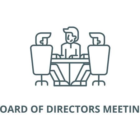 Icône de la ligne du vecteur réunion du conseil d'administration, concept de contour, signe linéaire Vecteurs