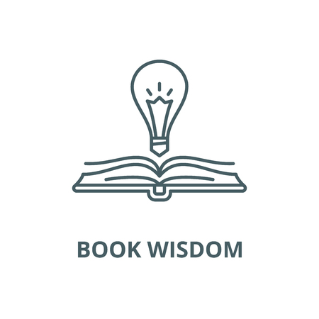 Book wisdom vector line icon, outline concept, linear sign Illustration