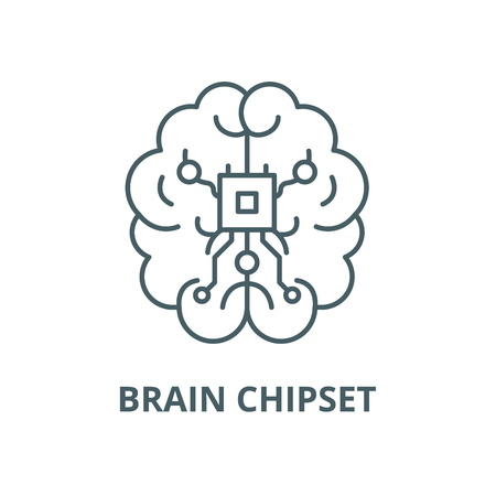 Brain chipset vector line icon, outline concept, linear sign