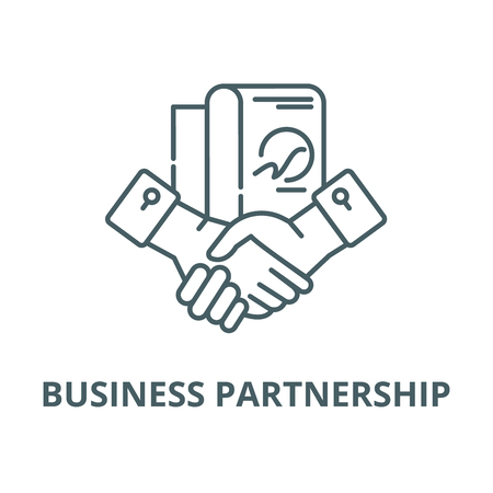 Business partnership vector line icon, outline concept, linear sign