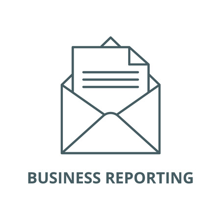 Business reporting vector line icon, outline concept, linear sign Stock Illustratie