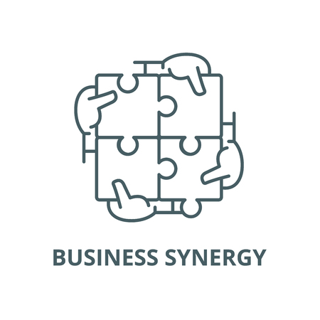 Business synergy vector line icon, outline concept, linear sign