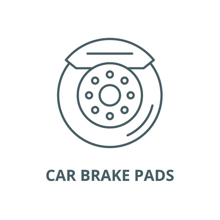 Car brake pads vector line icon, outline concept, linear sign 向量圖像