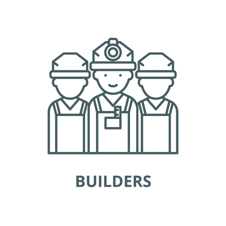Builders vector line icon, outline concept, linear sign Illustration