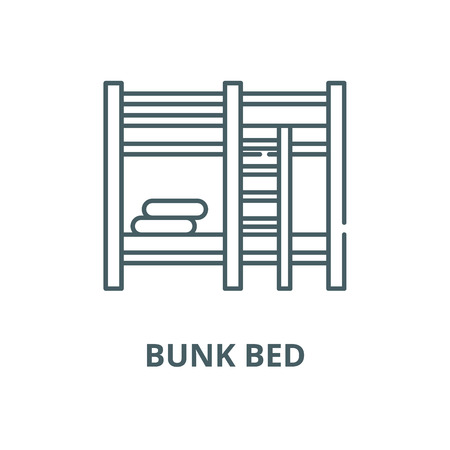 Bunk bed vector line icon, outline concept, linear sign