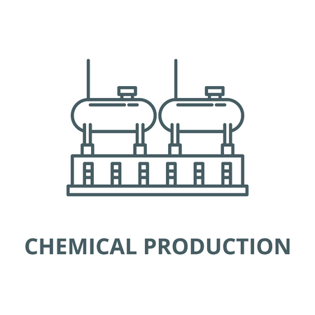 Chemical production vector line icon, outline concept, linear sign