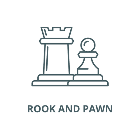 Chess pieces rook and pawn vector line icon, outline concept, linear sign