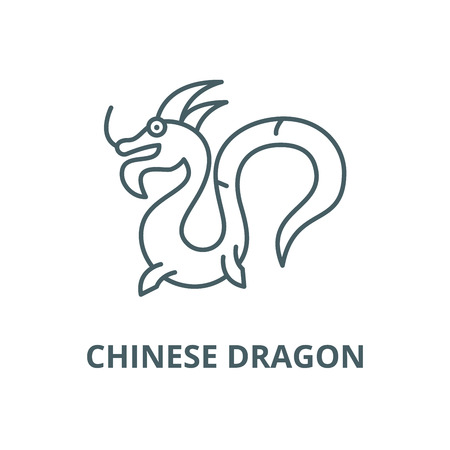 Chinese dragon vector line icon, outline concept, linear sign Illustration