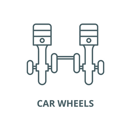 Car wheels vector line icon, outline concept, linear sign