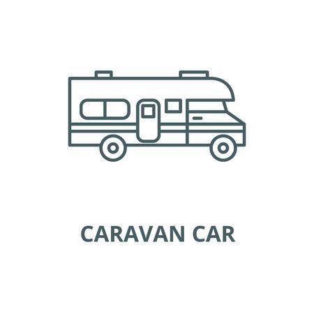Caravan Auto Vektor Liniensymbol, Umrisskonzept, lineares Zeichen Vektorgrafik