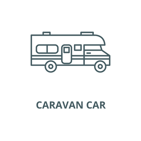 Caravan car vector line icon, outline concept, linear sign